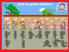 Schaduw zoeken met kleuters op digibord of computer, kleuteridee / shadow match game for preschoolers in IWB or computer