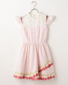 LIZ LISA Strawberry Embroidery Gingham OP Dress Sweet Lolita Kawaii Japan #LizLisa #PeplumTunic #Shibuya109fashion