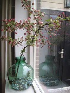 Vaas met tak in de vensterbank