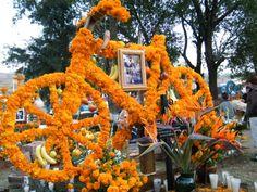 """Mexique Voilà quelques photos prises dans le cimetière de Tzintzuntzan, lieu très """"réputé"""" pour la Noche de muertos, mais du coup où les offrandes semblent rivaliser les unes contre les autres afin de remporter le concours de la plus grande, la plus chargée...:"""