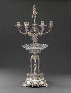 Edward & John Barnard  ,A Victorian silver & glass Candelabrum Centrepiece, London 1868