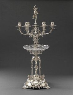 *Edward & John Barnard  ,A Victorian silver & glass Candelabrum Centrepiece, London 1868
