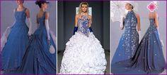 Denim bruid jurk met borduurwerk