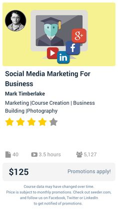 Social Media Marketing For Business | Seeder offers perhaps the most dense collection of high quality online courses on the Internet. Over 13,800 courses, monthly discounts up to 92% off, and every course comes with a 30-day money back guarantee.