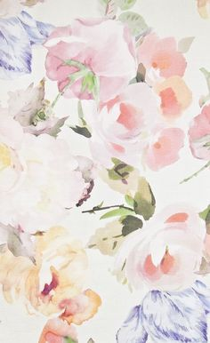 Rosetta Linen Fabric Cream Linen fabric with large water colour floral print in Yellows, Purples and Oranges.