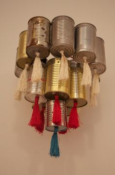 repurposed tin can chandelier