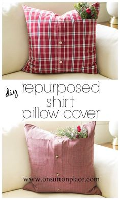 Make inexpensive pillow covers from cozy repurposed shirts. DIY and budget friendly! Easy to follow tutorial. budget friendly home decor #homedecor #decor #diy