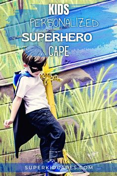 Check out our handmade superhero capes, perfect for any holiday or occasion. This unique personalized superhero costume comes double sided with an outside color and contrasting inside color. Dress it up with our superhero mask, hero belt, or gloves. Whether you are looking for a halloween costume or need a gift for a birthday, costume party, school dress up day, or Christmas, our capes will bring a smile to the face of boys and girls of all ages. Check out our 21 options at superkidcapes.com. Superhero Capes For Kids, Superhero Dress Up, Superhero Party, Green Gloves, Cape Designs, Personalized Gifts For Kids, Handmade Gifts, Cool Mom Picks