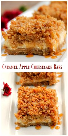 Caramel Apple Cheesecake Bars have the textures of smooth and crunchy along…