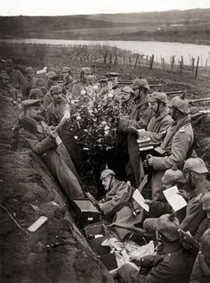 World War 1, 1914. Christmas in German trenches.