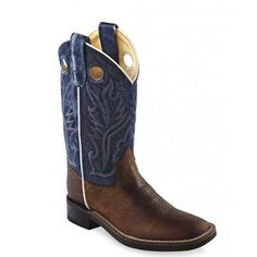 Old West Children's Blue Shaft Western Boot – Broad Square Toe - BSC1884 Profile
