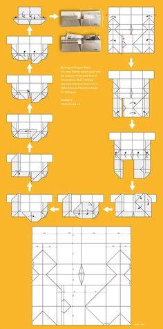 A3サイズの紙を折り紙して製作しました。小銭入れの蓋を手前の3角のところに挟む事ができるので、小銭をより安全にキープすることが出来ます。その他、小銭入れ部分を大きく広げることが可能な他、形状が安定していることなどが特徴です。