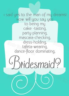 Aqua Wedding Cake Design Funny Will You Be My Bridesmaid Invitation by WonderWomanBoutique, $7.00