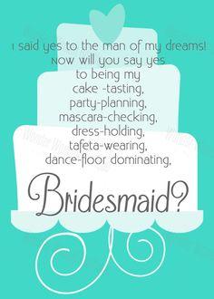 Aqua Wedding Cake Design Funny Will You Be My Bridesmaid Invitation by WonderWomanBoutique, $7.00