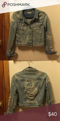 Distressed Denim Jacket Maison Scotch/Scotch & Soda distressed denim jacket. Bought for $250. Scotch & Soda Jackets & Coats Jean Jackets