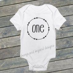 Hipster First Birthday Shirt One Baby Boy Girl Arrow Bodysuit, Birthday Outfit by BumpAndBeyondDesigns