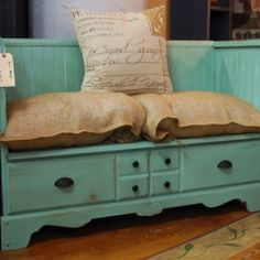 Take a dresser and refurb it into a bench, very clever