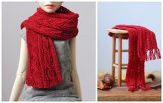 Micro knitting for dolls Red scarf in cable and rib knit Cosy Ball Joined Dolls Photos by Mari | Things We Do Blog