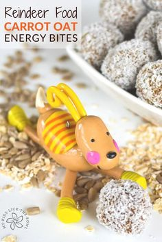 Carrot oat energy bites, healthy no bake nut-free energy ball for kids and a perfect healthy Christmas treat, Reindeer Food
