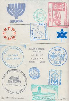 country stamps from expo 67