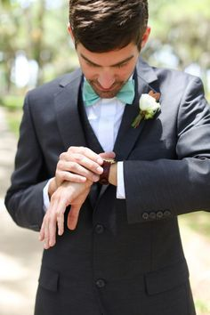 Groom Charcoal Suit Mint Bow tie.