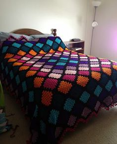 Great use of individual squares to make a interesting blanket