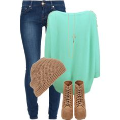 Mint Sweater Or Mint Sweatshirt + Jeans + Brown Beanie Hat + Brown Boots = Great Casual Outfit Cute Fashion, Look Fashion, Teen Fashion, Fashion Trends, Cheap Fashion, Fall Fashion, Womens Fashion, Looks Chic, Looks Style