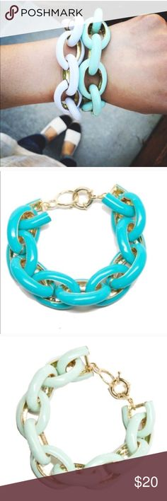Enamel Link Bracelet in Mint, White, Turquoise Very cute bracelet that goes with any arm candy! Very good quality. Feel free to ask questions! Jewelry Bracelets