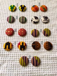 Ankara Fabric  Covered Button Earrings by MommysChocolateChip, $8.00 https://www.etsy.com/listing/169080033/ankara-fabric-covered-button-earrings