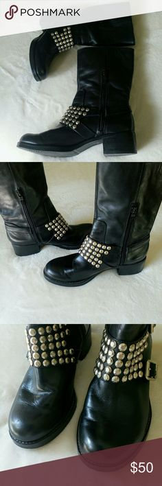 """BCBGeneration Moto Boots 7.5 Super cool! Leather studded boots with Monk straps. Tiny scuff right front top of boot see pic 3. Measurements are approximately 10"""" L x 3.5"""" W bottom sole. Heel is 1.75"""". The !I'd calf runs 9"""" high from top of heel. Comfy rounded toe and block heel. BCBGeneration Shoes Winter & Rain Boots"""