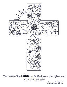 40 Days and Nights: A Christian Coloring Book Cross Coloring Page, Free Adult Coloring Pages, Bible Coloring Pages, Coloring Books, Easter Coloring Sheets, Easter Colouring, Coloring For Kids, Stained Glass Kits, Cross Drawing