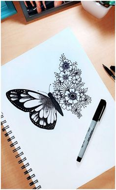 Art Drawings Sketches Simple, Pencil Art Drawings, Tattoo Sketches, Sharpie Drawings, Sharpie Doodles, Tattoo Drawings, Flower Drawings, Drawings Of Butterflies, Some Easy Drawings