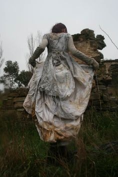 """sweetpeapath: """" Eco-dyed dress by India Flint """"…the credit goes to Mother Nature - all I did was sew 7 metres of undyed silk into a dress bundle it around a pocketful of windfallen leaves and sling it into a cauldron, she did the rest! India Flint, Conte Court, Beautiful Tumblr, Textiles, Boho, Faeries, Textile Art, Wearable Art, Character Inspiration"""
