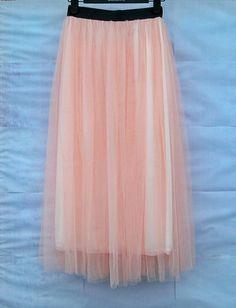 Women Ladies Girls Pleated 88cm Long Tulle Satin Skirt Dress 4 color Free ship