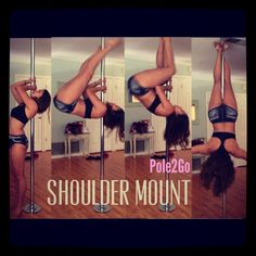 Cup grip shoulder mount Pole dancing. Pole fitness, pole moves