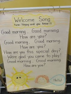 Good morning song... Post it on a chart like this for young learners and have students take turns using a pointer to track the words as the class sings. :) The pointer can then share to respond...