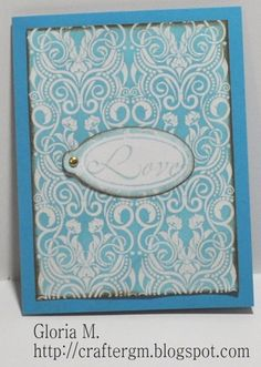 Vintage Swirls Background Rubber Stamp card by Gloria M.