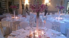 Tall elegant silver and purple centertable