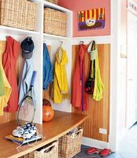 Open under cubbies for large ski bags. Ski Bags and gear can dry on heated tile. Cubbies for individuals.