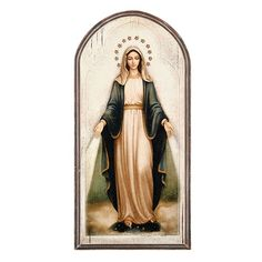 Our Lady of Grace Plaque - This arched Our Lady of Grace wood plaque features a classic image presented in warm, neutral colors. A versatile home accessory that will add a special touch to any room in your home.