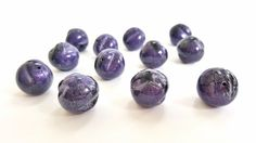 Dark Purple and Black Textured Resin Beads. Very Pretty and Colorful!!   18mm in Size.  12 Beads.  Unique and Lightweight. by FunkyCreativeJuices on Etsy
