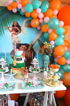 moana party decorations party ideas the only list you need for party food ideas because disney. I used the Hawaiian luau supplies as the basics for the party. Find more Moana Party Ideas Here! Moana Birthday Party Theme, Moana Themed Party, Luau Party, Moana Theme Cake, Beach Party, Hawaiian Birthday, Luau Birthday, 3rd Birthday Parties, Birthday Ideas