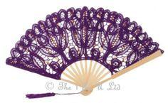 handmade lace purple/lilac ladies fan.