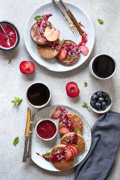 glutenfreie und vegane Mini-Pancakes ohne Zucker und Soja von freiknuspern! Glutenfreie Buchweizen Pancakes