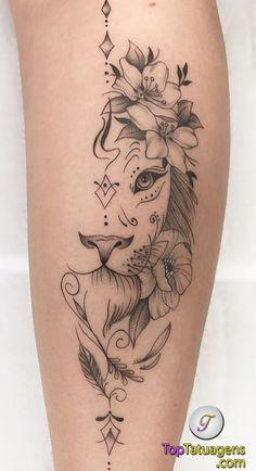 70 female and male lion tattoos TopTattoos, # … Piercing - tattoo feminina Leg Tattoos Small, Back Of Leg Tattoos, Small Meaningful Tattoos, Top Tattoos, Tattoos For Women Small, Body Art Tattoos, Sleeve Tattoos, Trendy Tattoos, Female Tattoo Sleeve