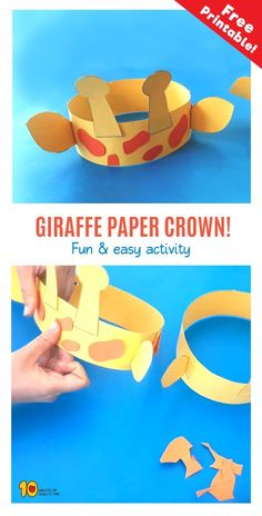 Create a Giraffe Crown - 10 Minutes of Quality Time Giraffe., Create a Giraffe Crown - 10 Minutes of Quality Time Giraffe Paper Crown- Fun & easy activity. Giraffe Crafts, Animal Crafts For Kids, Paper Crafts For Kids, Art For Kids, Safari Animal Crafts, Easy Crafts, Jungle Theme Crafts, Paper Animal Crafts, Safari Crafts Kids