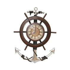 """Large Nautical Clock Prop Display is made of Resin, measures 25"""" x 3"""" x 34"""" and weighs 10 lbs. Large Anchor and Ships Wheel Clock is battery operated. (batteries not include) Large Ships Wheel and Anchor Clock an Ideal Display for your Waterfront Restaurant, Bar, Wharf, Boat, Home, Seafood Market, Store Front or Special Event. Shipping is Included in Price!"""
