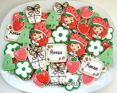 Christmas Penguin Cookies and Strawberry Shortcake Birthday Platter Strawberry Shortcake Cookies, Strawberry Shortcake Characters, 6th Birthday Parties, Birthday Fun, Birthday Ideas, Little Girl Birthday, Baby First Birthday, Cartoon Cookie, Cute Cookies