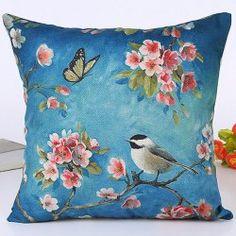 Nature Landscape Flowers and Bird Design Home Decor Pillow Case - BLUE
