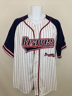 Atlanta Braves MLB STARTER Baseball Shirt Pin Striped Sewn Logo Men XL